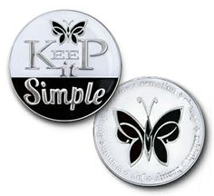 "DRISCOLL'S JEWELRY & GIFTS ""KEEP IT SIMPLE"" WITH BUTTERFLY SPECIALTY COIN MEDALLION - ALCOHOLICS ANONYMOUS - NARCOTICS ANONYMOUS"