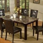 vintage wooden and stone dining table set with six chairs