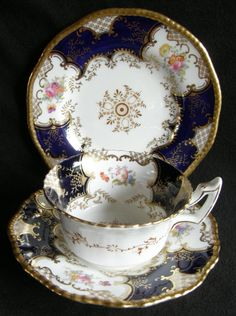4:00 Tea...Coalport...Batwing Teacup and Saucer Trio