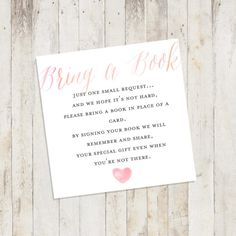 Baby Shower Printable Baby Shower Bring a Book Card Bring a