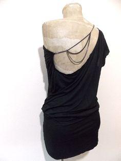 Intimissimi Dress Size Medium Black Mini Club Chain One Shoulder Stretch  #Intimissimi #OneShoulder #Clubwear
