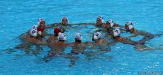 The U.S. men's water polo team huddles during the preliminary round Group B match against Russia at the 16th FINA World Championships at the Water Polo Arena on July 27, 2015 in Kazan, Russia