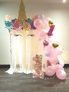 Unicorn set-up for a special first birthday party