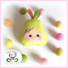 Happy Fruit-Set of Three fruits-Felt fruit-DIY felt fruit