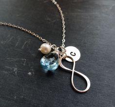 Infinity necklace Silver initial & birthstone by BriguysGirls, $45.00