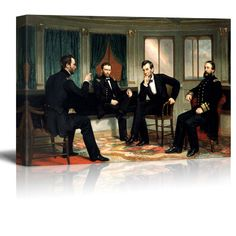 The Peacemakers (Abraham Lincoln at Civil War Time) by George Peter Alexander Healy Vinyl Poster, Poster Prints, World Famous Paintings, Canvas Wall Art, Canvas Prints, Stonewall Jackson, Canvas Pictures, Artist Canvas, Art Reproductions
