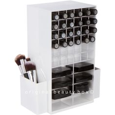 Our Spinning Lipstick/Compact Tower holds 72 lipsticks, 16 compacts, and has room for palettes and makeup brushes on the side. It is made from heavy duty acrylic and spins 360 degrees for easy access