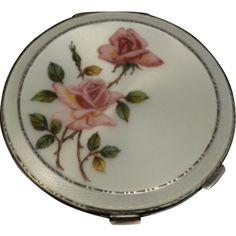 Vintage Guilloche Enamel Roses Silver Powder Compact  C 1940