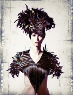 black feathered wig