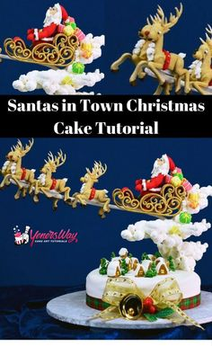 Create this classic Christmas scene cake of Santa flying on his sleigh through the clouds over a lit up town on a Christmas evening. Fondant Icing, Fondant Cakes, Cupcake Cakes, Holiday Cakes, Xmas Cakes, Christmas Cakes, Christmas Decor, Santa Cake, Christmas Cake Designs