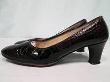 Vintage Bonwit Teller Fifth Avenue ALLIGATOR Brown Leather Round Toe Heel Shoe 5