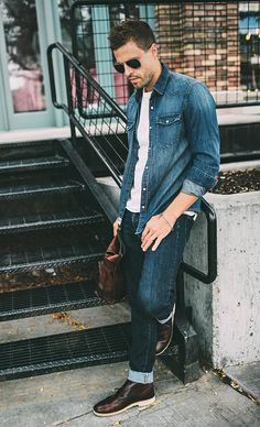 Leather and Denim Double Denim Looks, Dungarees, Business Casual, Leather Shoes, Taupe, Combat Boots, Young Men, Mens Fashion, Men's Style