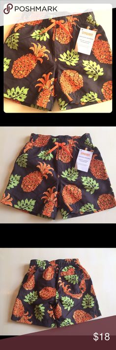 Gymboree Swim Suit Trunks Boys 18-24 Months New Here is a cute swim suit for baby boys 18-24 months by Gymboree. This is brand new! Please see the photos. Brown and orange large tropical pineapple print. Cute! Gymboree Swim Swim Trunks