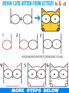 How to Draw Cartoon Baby Kitty Cat or Kitten from Letters Easy Step by Step Drawing Tutorial Wie Cartoon Baby Kitty Cat oder Kätzchen aus Buchstaben zu zeichnen Easy Step by Step Drawing Tutorial Word Drawings, Doodle Drawings, Easy Drawings, Doodle Art, Easy Sketches, Drawing Letters, Baby Drawing Easy, Drawing For Kids, Drawing Cartoon Characters