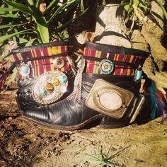 Custom Upcycled Vintage Cowboy Boho Boots Desert Dreams