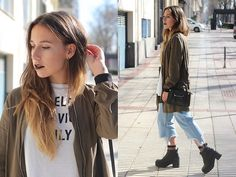 Get this look: http://lb.nu/look/8590589  More looks by Claudia Villanueva: http://lb.nu/ctrendencies  Items in this look:  Pull & Bear Jacket, H&M Bag, Daisy Street Jeans, H&M Boots   #casual #street #baggyjeans #croppedjeans #fishnetsocks #trends #style #outfit #look