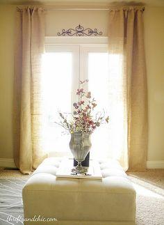 thrifty! burlap curtains :)