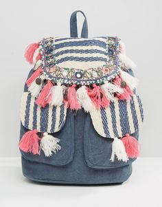 The humble beachbag for SS16 has had a denim, tassel, backpack-y update and it looks like this