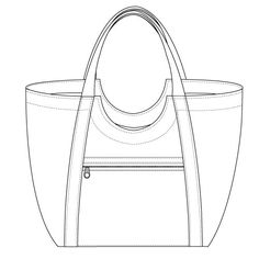 poolside-tote-zipper-pocket-line-drawing
