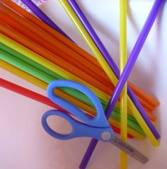 learning to use scissors:  straw cutting activity