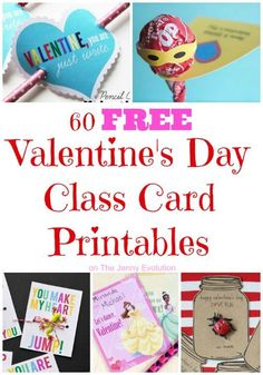 60 FREE Valentine's Day Class Card Printables (collected by The Jenny Evolution) Valentines Day Activities, Valentines Day Party, Valentines For Kids, Valentine Day Crafts, Valentine Ideas, Printable Valentine, Valentine Box, Valentine Wreath, Printable Cards