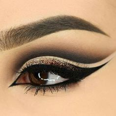 Modern Neutral Bold Eye Makeup Idea~ Brown, creams, smoky grey. Clean and crisp lines. Very cool!
