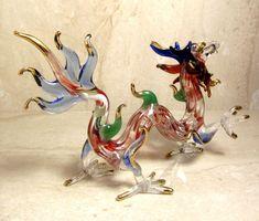 Red DRAGON handmade blown ART GLASS Gild figurine 5 Inches - GIFT Myth creature