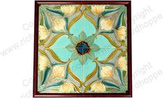 ANTIQUE c.1905 FRAMED HEIMIXEN BELGIUM ART NOUVEAU FOUR TILE PATTERN #3. Item # on website: 1995