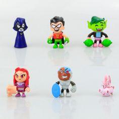 6pcs/lot Teen Titans Toys Go Action Figure Teen Titans Robin, Raven, Beast Boy #Unbranded