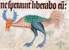 Bat-deer-rooster hybrid. Luttrell Psalter, England ca. 1325-1340. British Library. Tumblr