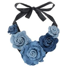 """The thing about fashion is that the rules are always changing. As Heidi Klum says on Project Runway, """"one day you're in, the next, you're out. denim choker from old jeans Canada's Fashion and Beauty Magazine very cool necklace Fabric Necklace, Diy Necklace, Flower Necklace, Fashion Necklace, Pearl Necklace, Denim Flowers, Fabric Flowers, Textile Jewelry, Fabric Jewelry"""