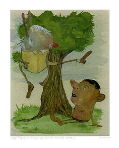 Whimsical Art Print New Eco Bamboo Paper Humorous by LisaKaser