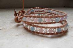 bracciale con quarzo rosa, cristalloo e acquamarina