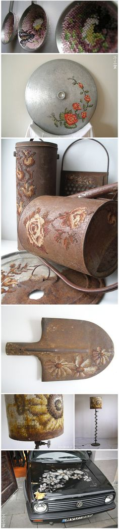 cross stitch on metal- pots and lids stitched and embroidered
