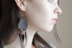 Excited to share the latest addition to my #etsy shop: Leather teardrop earrings, Black earrings, Boho style earrings https://etsy.me/2NhTOAF #jewellery #earrings #black #boho #leather #no #girls #teardrop #earlobe