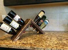 Countertop reclaimed wood 6 bottle wine holder on Etsy, $35.00