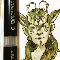 Amazing Moss fairy created by @cleoscc with their Chameleon Pens. #markerdrawing #skeching #sketchbook #chameleonpensart #sketch #chameleonpens
