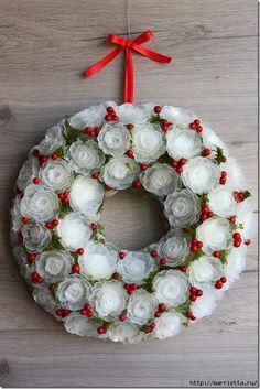 Gentle frosty wreath of plastic egg trays