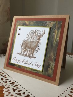 deer card happy father's day card father's day by PointingDogPaper