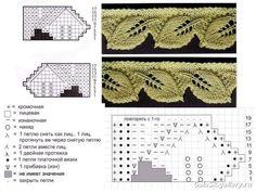 Schemes of knitting. The patterns of lace knitting on spokes Lace Knitting Patterns, Knitting Stiches, Knitting Charts, Crochet Stitches, Baby Knitting, Stitch Patterns, Knit Edge, Knit Or Crochet, Irish Crochet