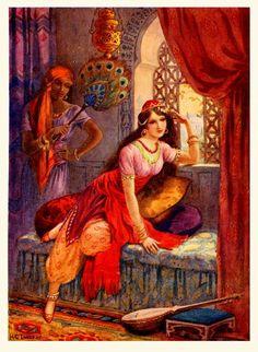 Harry G. Theaker illustrations for 'Arabian Nights' Art And Illustration, Botanical Illustration, Portrait Photos, Empire Ottoman, Pics Art, Turkish Art, Arabic Art, Arabian Nights, Islamic Art