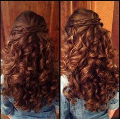 Ideas For Hair Waves Updo Braids Natural Wedding Hairstyles, Curly Wedding Hair, Up Hairstyles, Pretty Hairstyles, Wedding Updo, 1950s Hairstyles, Curly Hair With Bangs, Long Curly Hair, Curly Hair Styles