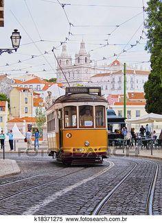 Antigas, bonde, em, lisboa Arquivos de Fotografia   k18371275   Fotosearch Bonde, Lisbon, Beautiful Places, Street View, Motors, Travel, Ladybird Books, City Streets, Building Designs