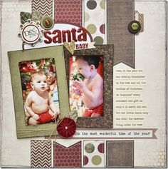 #papercraft #scrapbook #Layout using the Home for Christmas collection by Fancy Pants Designs.
