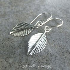 Sterling Silver Dangly Leaf Earrings - Handmade Handstamped Metalwork Leaves £28.00