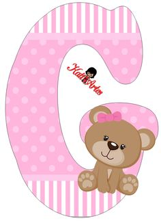 Alfabeto de tierna osita con fondo rosa. | Oh my Alfabetos! Photo Bb, Baby Shower Clipart, Teddy Bear Cartoon, Alphabet Templates, Free Adult Coloring, Baby Shawer, Bear Party, Bear Pictures, Paper Flower Backdrop