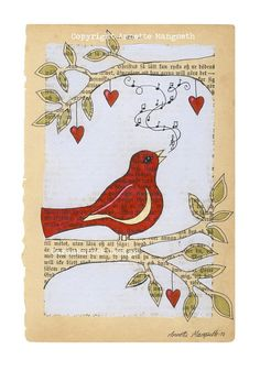 Red bird    Print   Singing bird on branch  Nursery by carambatack