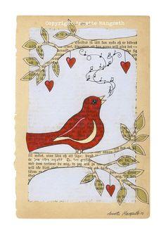 Red bird    Print   Singing bird on branch  Nursery by carambatack