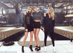 Martha Hunt, left, is a 26-year-old Victoria's Secret Angel who has become increasingly close to Taylor, centre, and Gigi Hadid, right, in recent months. The trio even joined Taylor on stage in Detroit