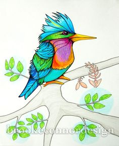 Kingfisher the diving bird by BrookeConnorDesign on Etsy